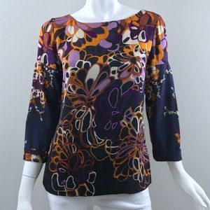 {Elie Tahari} Bergdorf Floral Abstract Silk Blouse